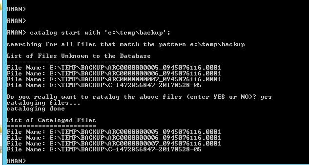 Now we can finally Recover the database. Notice the error below. It is looking for archive log #8, but since we only had through #7, it showed an error.